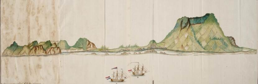 Painting 'View of Statia' 1759.