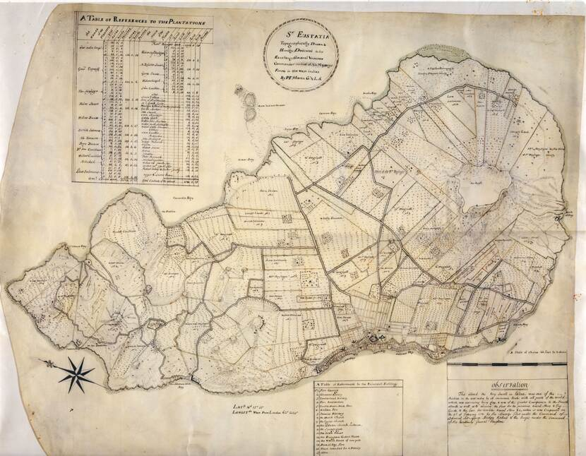 Old map of St. Eustatius by PF Martin