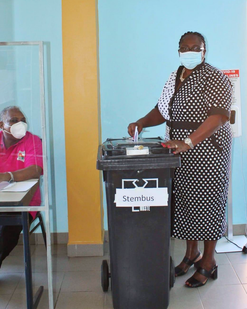 Deputy government commissioner Alida Francis at the polling station in St. Eustatius
